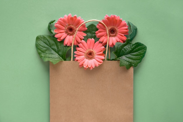 Coral gerbera daisy flowers in craft papper shopping bag on green paper