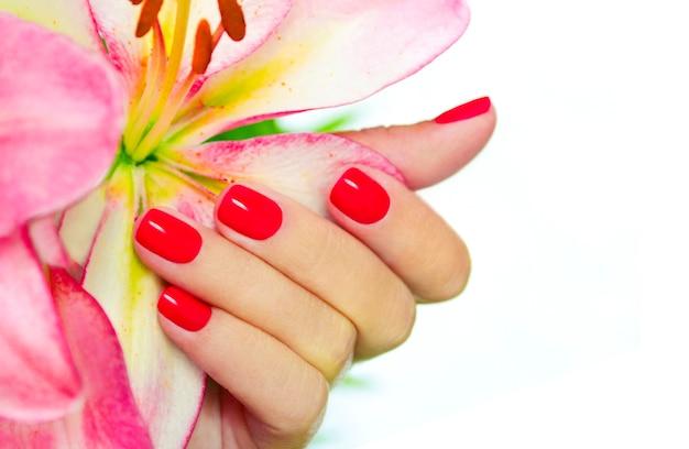 短い女性の爪のサンゴマニキュア