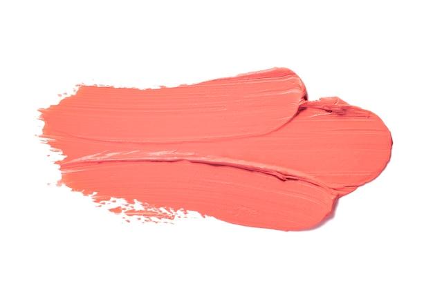 산호 오렌지 얼룩 립스틱 배경 질감 얼룩 흰색 절연