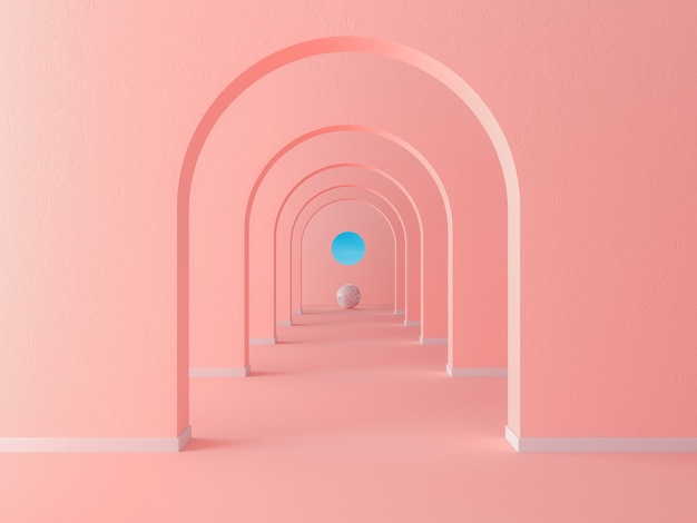 Coral pink pastel arch hallway simple geometric background, architectural corridor, portal, long tunnel inside empty wall. 3d rendering