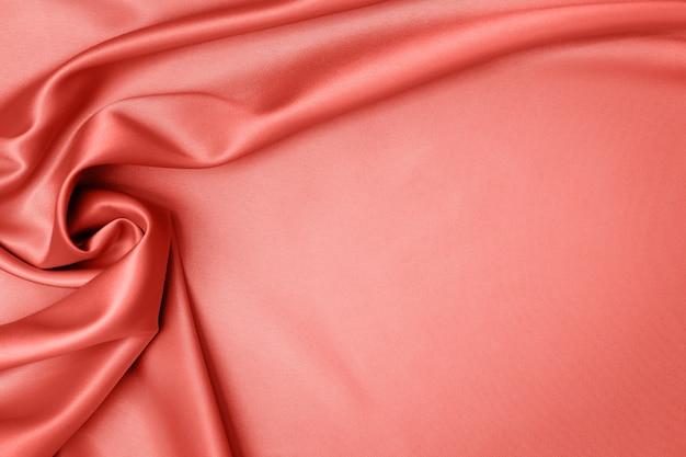 Coral satin fabric