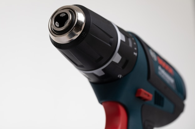 Cordless electric drill close-up