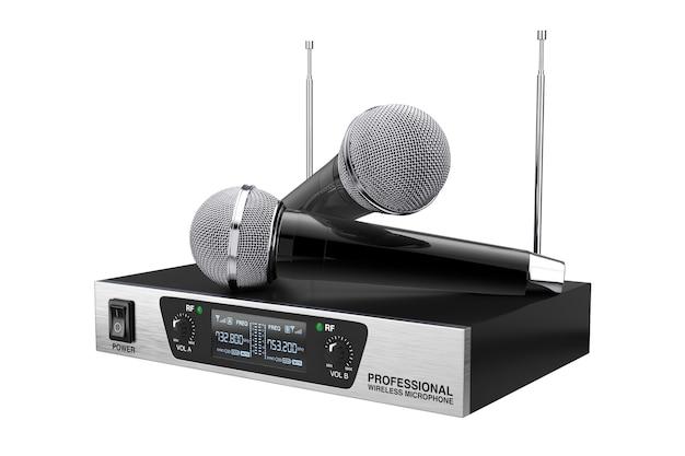 白い背景のコードレス無線ワイヤレスマイクと送信機システム。 3dレンダリング