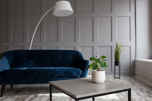 Corduroy sofa in a trendy loft interior in blue.