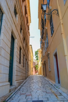 그리스 코르푸 섬 코르푸 마을과 아름다운 거리
