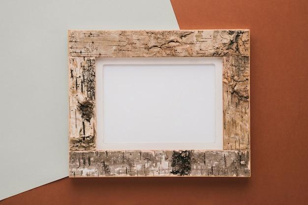 Cork frame on bicolor background