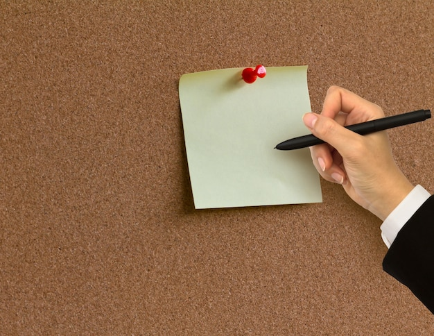 Corkboard with a blank note