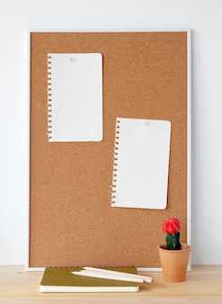 Corkboard with blank paper note and cactus