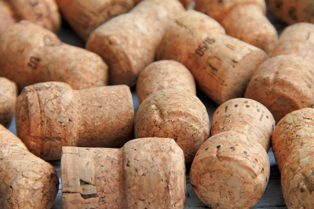 Corks of sparkling wine are in the heap