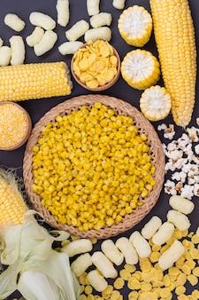 Кукуруза и кукурузные продукты, вид сверху