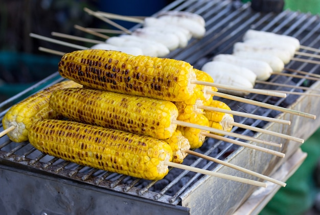 Corn and banana grilled or roasted, thai dessert