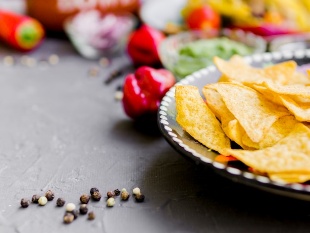 Corn chips with pepper
