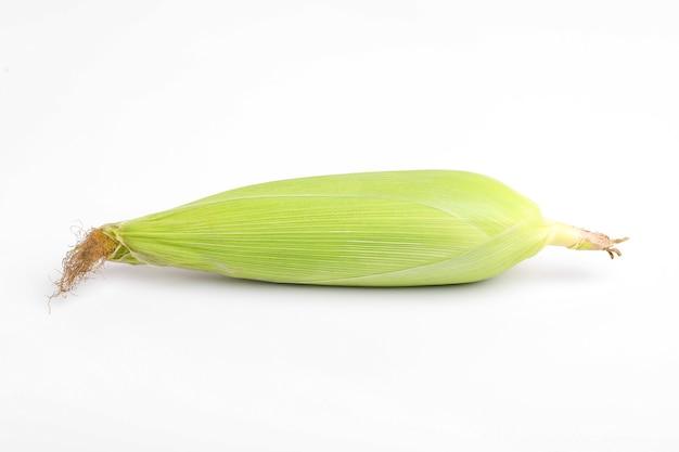 Початок кукурузы с зелеными листьями, изолированными на белой поверхности.