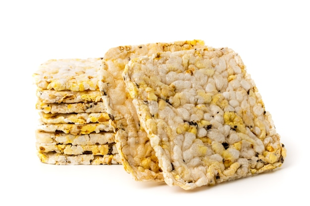 Corn crackers on white, isolated.