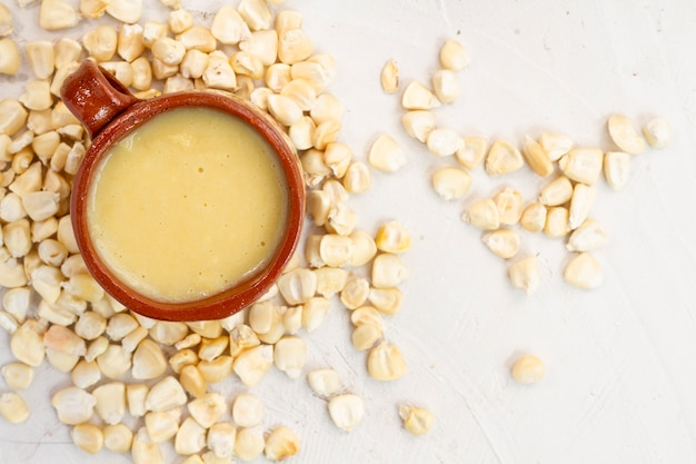 Corn cup soup with corn grains