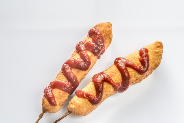 Corn dogs on the white background