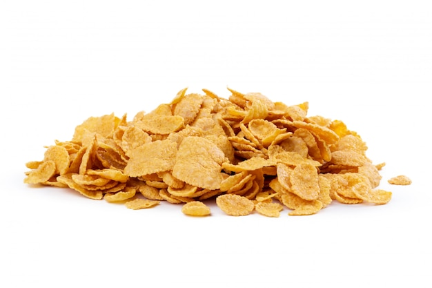 Corn flakes assortment isolated on white