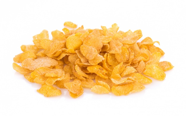 Corn flakes isolated on white background