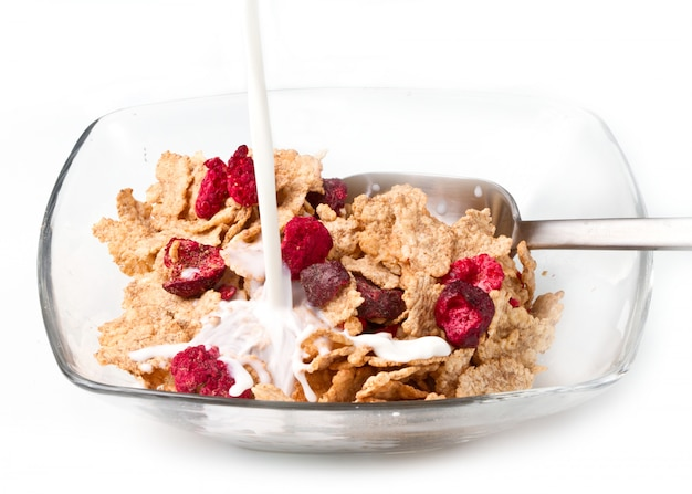 Corn flakes and red berries