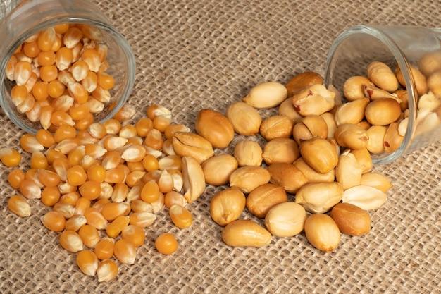 Corn kernels and roasted peanuts.
