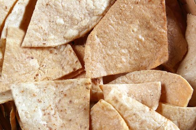 Corn nachos totopos tortilla mexican food
