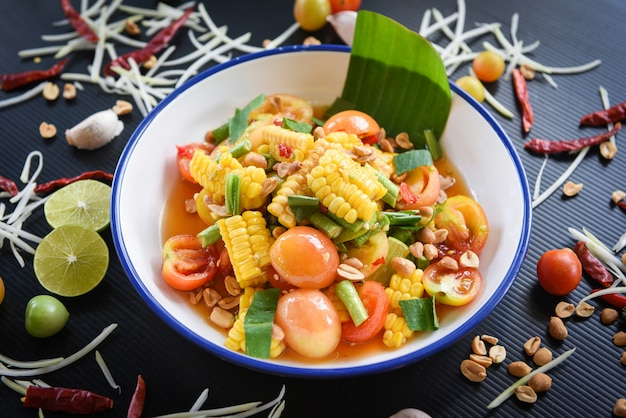 Corn spicy salad with fruits and vegetables