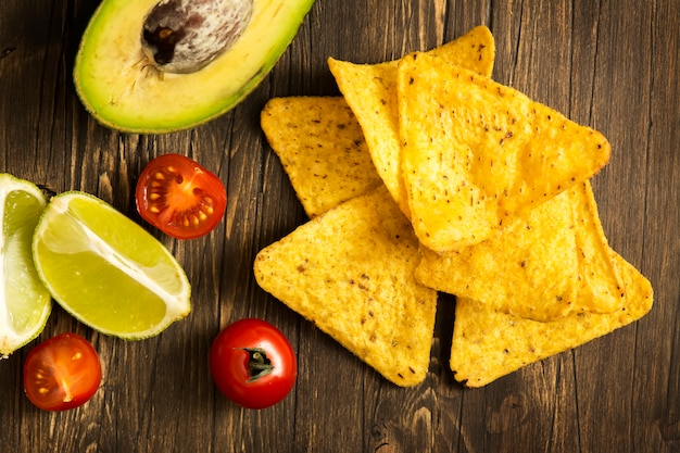 Corn tortilla chips nachos and guacamole sauce ingredients
