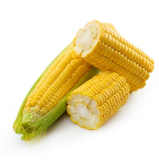Corn on a white