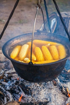 Кукурузные початки в кипящей воде над костром