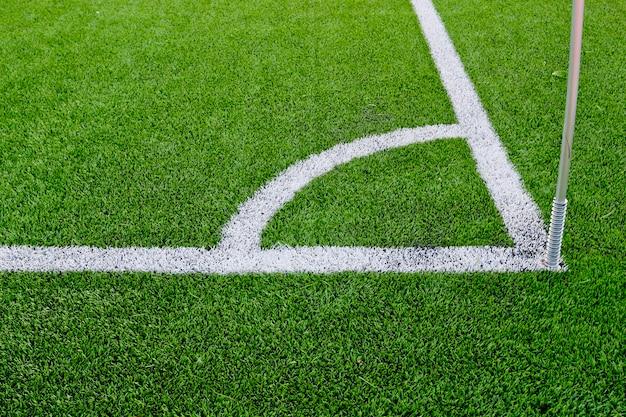 Corner boundary markings of grass soccer field Premium Photo