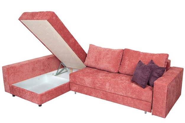 Corner convertible sofa bed with storage space isolated
