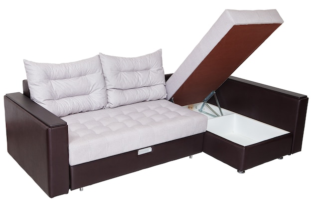 Corner convertible sofa-bed with storage space isolated