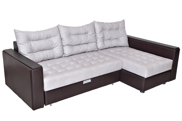 Corner convertible sofa bed with storage system isolated