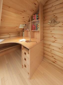 통나무 내부의 코너 책상과 책장