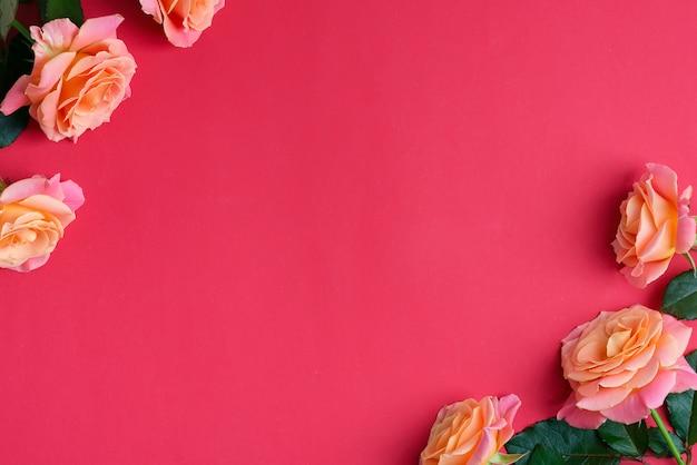 Угловая праздничная рамка из свежих цветущих роз цветов на красном рубиновом фоне