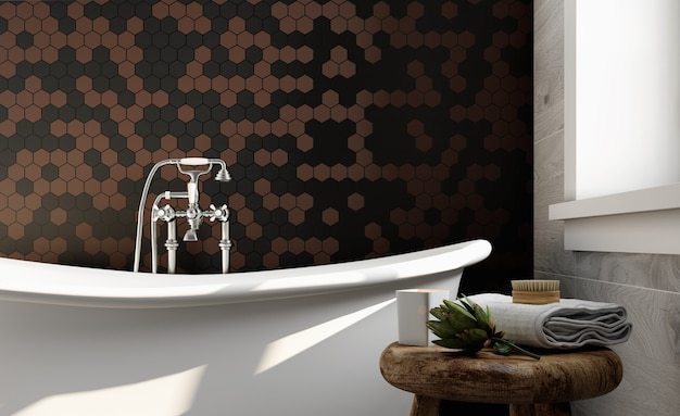 Corner of hotel bathroom with brown and black tiled walls. classic style. 3d rendering