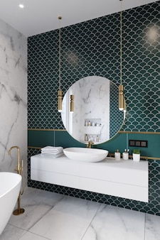 Corner of hotel bathroom with green tiled walls, large mirror and white washbasin. 3d rendering