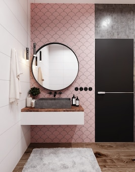 Corner of hotel bathroom with pink tiled walls, large mirror and grey washbasin. scandinavian style. 3d rendering