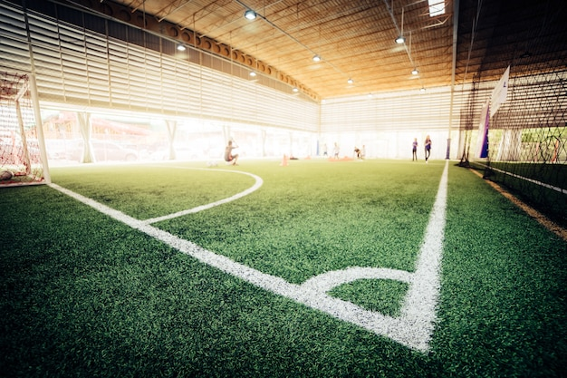 Corner line of an indoor football soccer training field
