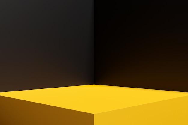 검은 색 벽과 노란색 바닥이있는 직사각형 방의 코너