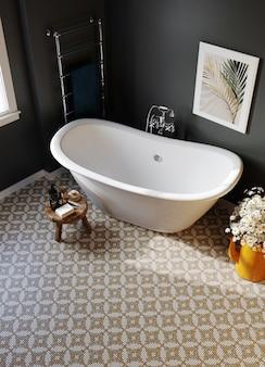 검은 색 벽과 모자이크 바닥이있는 호텔 욕실 코너. 3d 렌더링