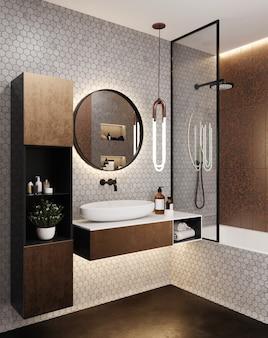 Уголок современной ванной комнаты отеля с серыми плиточными стенами, белыми раковиной и ванной. спа-аксессуары и круглое зеркало. стиль лофт. 3d рендеринг