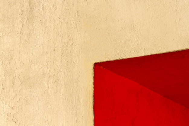 Corner of a red wall copy space