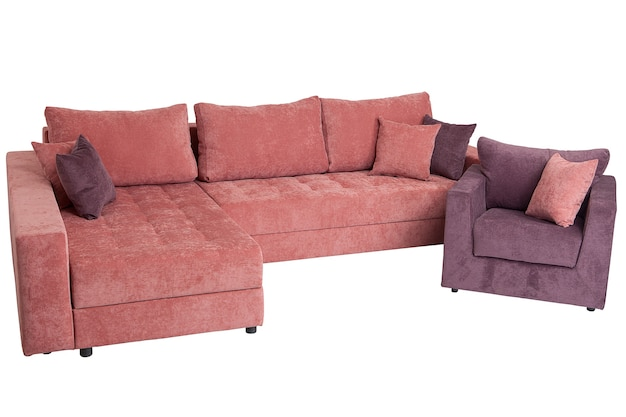 Corner sectional sofa-bed of pink isolated