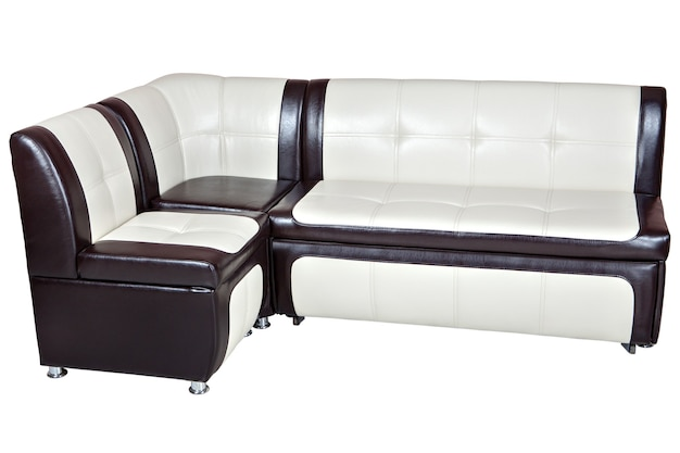 Corner sofa bed in faux leather, dining room furniture, white with brown color,  isolated on white background, include clipping path.