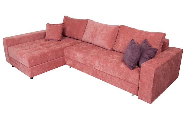 Corner sofa bed of pink isolated