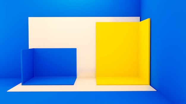 Corner stage with square geometric shapes on blue surface