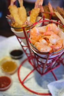 Cornets of fried shrimps