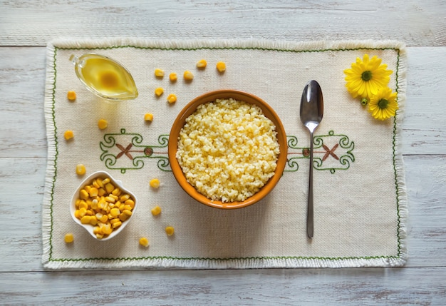Cornmeal porridge. traditional homemade polenta. healthy organic breakfast.