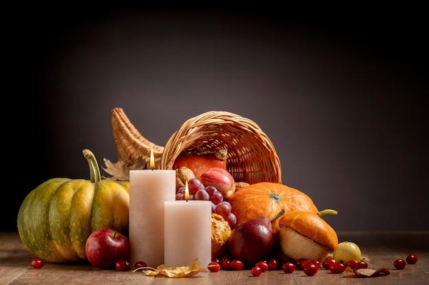 Cornucopia arrangement with delicious foods